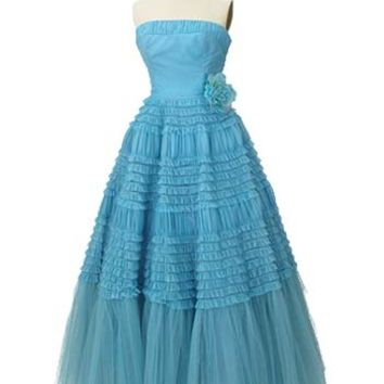 1950s Authentic Vintage Dresses-50s Strapless Aqua Ruffle Tulle Gown