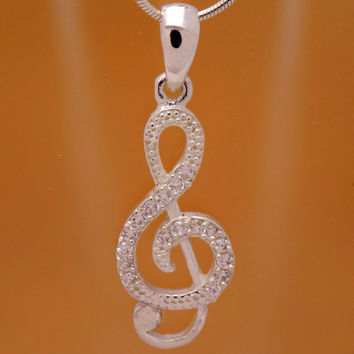 Solid Sterling Silver Cubic Zirconia Childrens Musical Treble Clef Note Pendant 925 Hallmark Charming Cute Cool Lovely Design Kids Beautiful