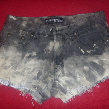 Tie Dyed Denim Shorts with Distressed legs by HOUSEOFTEIWIATA
