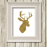 Christmas Deer Head Gold Glitter White Print Printable Instant Download Poster Wall Art Home Decor SF063