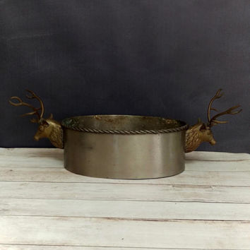 Deer Bowl/ Brass Deer/ Stag Bowl/ Stag Head/ Deer Antlers/ Silver Brass Bowl/ Rustic Home Decor/ Rustic Centerpiece/ Rustic Planter