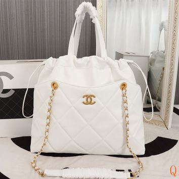 HCXX 19Sep 512 Fashion Large Capacity Tote Shopper Chain Quilted Drastring Bag 37-32-7cm