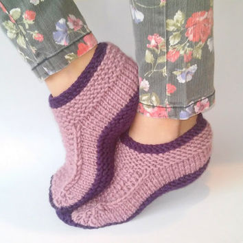 Knit Slippers/ Womens Slippers Socks/ Handmade Slippers/ Warm Slippers/ Teen Slippers