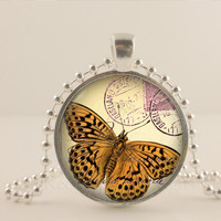 Yellow and brown Butterfly glass and metal Pendant necklace Jewelry.