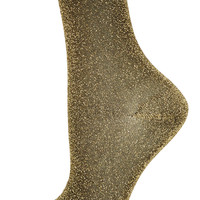 Gold Fine Glitter Ankle Socks