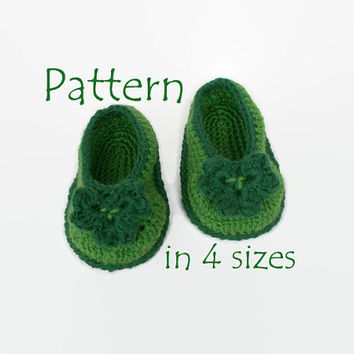 PATTERN: Crochet baby booties Irish green Crochet shamrock First st patrick day Green crochet baby shoes St patricks crochet Crochet clover