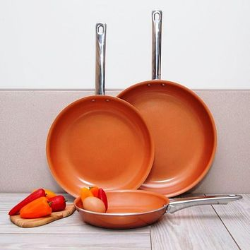 Set of 3 Copper Ceramic Non Stick Fry Pans with Induction Bottoms