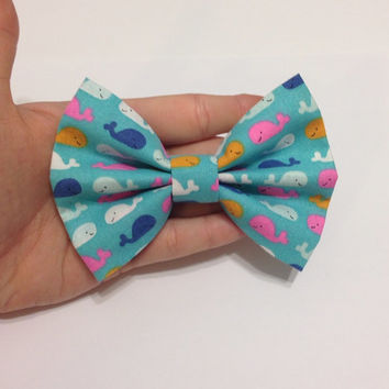 Light Blue Fabric with Pink, Orange, and Blue Whales Hair Bow - 3.5 or 4.5 Inches Wide