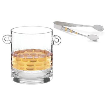 Truro Gold Glass Ice Bucket With Gold Ice Tongs