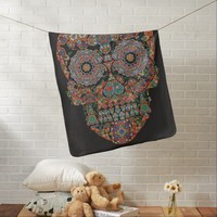 Flower Sugar Skull Baby Blanket