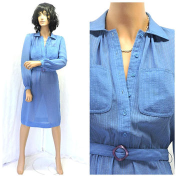Vintage 70s secretary dress / S  / 1970s Leslie Faye / baby blue sheer shirt dress / retro office dress