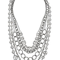 Draped faux pearl and rhinestone necklace