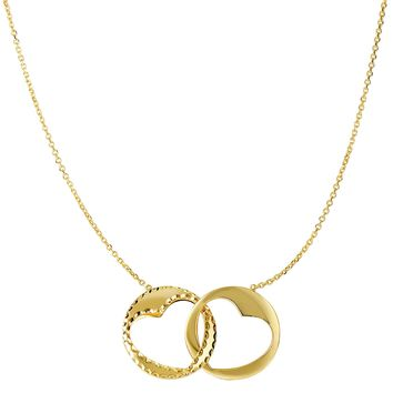 "14k  Yellow Gold Interconnected Circle With Cut Out Heart Pendants On 16 To 17"" Expandable Necklace"