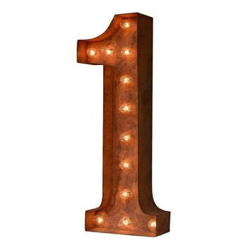 """24"""" Number 1 (One) Sign Vintage Marquee Lights"""