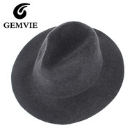 100% Real Wool Fedoras Hats For Male Solid Wide Brim Vintage Jazz Caps Casual Soft Cashmere Fedora cap female gifts
