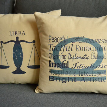 Set of 2 Libra Zodiac Sign Pillows- Cotton Covers and or Cushions - 14x14, 16x16, 18x18, 20x20