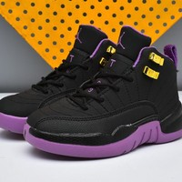 New Nike Air Jordan 12 Kids Shoes Purple Black