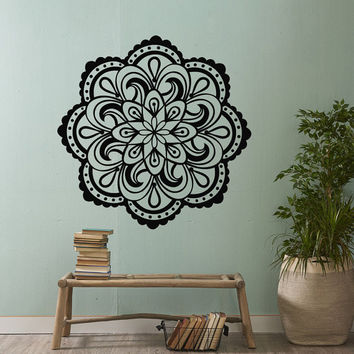 Mandala Vinyl Wall Decal Sticker- Mandala Wall Art- Yoga Studio Decor Bohemian Boho Bedroom Tribal Wall Art- Namaste Decal Indian Decor #56