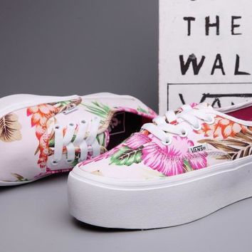 VANS Casual Flower Print Canvas Flats Platform Shoes