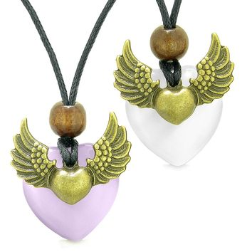 Angel Wings Love Couple Best Friends Heart Yin Yang Amulet Purple White Simulated Cats Eye Necklaces