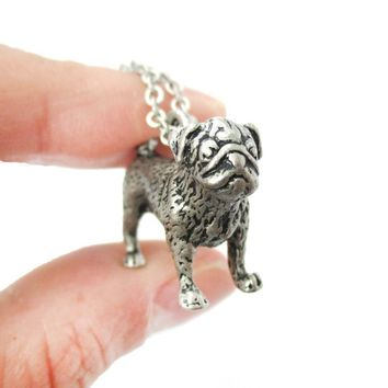 Realistic Life Like Pug Shaped Animal Pendant Necklace in Silver | Jewelry for Dog Lovers