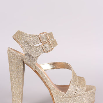 Bamboo Glitter Double Ankle Strap Chunky Platform Heel