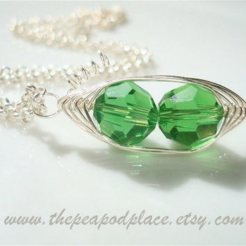 Two peas in a pod necklace - Best Friend - Grandmother - Expectant mom - Bridesmaids - wire wrap