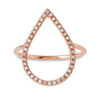 Diamond Dew Drop Ring, 14K Rose Gold, Stone & Novelty Rings