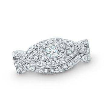 1 CT. T.W. PRINCESS-CUT DIAMOND TWIST BRIDAL SET IN 14K WHITE GOLD