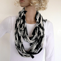 Womens fiber necklace - infinity scarf - summer accessory - black and white