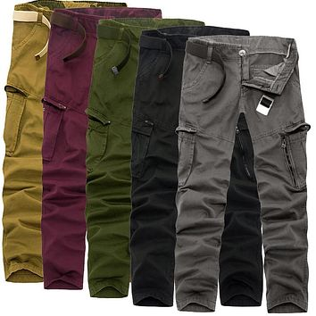 Men's 2016new fashion casual comfortable Slim solid color plus size loose all-match straight trend multi-pocket tooling trousers
