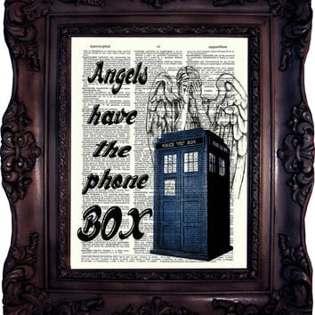 Dr Who Quote. Tardis print on vintage book page. 11. doctor. Dictionary Art Print. Police box. Weeping Angel. Dictionary art.  Code:539