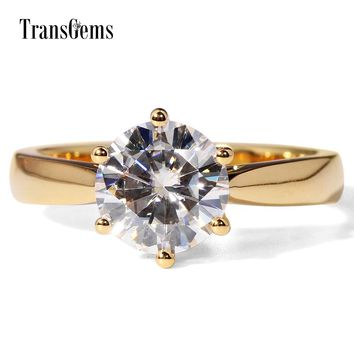 TransGems Brand Women's 14K Gold 2 CT Lab Grown Moissanite Diamond Solitaire Engagement Ring
