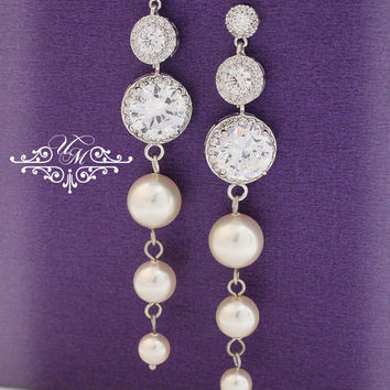 Wedding Jewelry AAA Zirconia dangle earrings Swarovski Pearl zirconia round Earrings Bridal Earrings Bridesmaids Earrings - MACEY