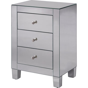 "Contempo 17.75""x13""x25"" Mirrored 3-Drawer Cabinet"
