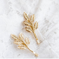 Elegant Europe   America Vintage Side Clip Leaves Hairpins Hair Jewelry Accessories For Women s SM6