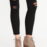 Sueded Lace-Up Peep-Toe Booties for Women|old-navy