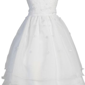 Girls Flower Embroidered Organza Communion Dress w. Tiered Skirt 5-14