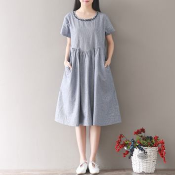 STRIPED EMBROIDERED ROUND NECK SHORT SLEEVE COTTON AND LINEN DRESS