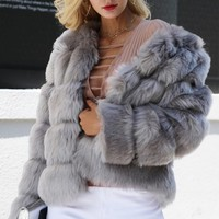 Ice Age Faux Fur Horizontal Long Sleeve Outerwear Coat - 3 Colors Available