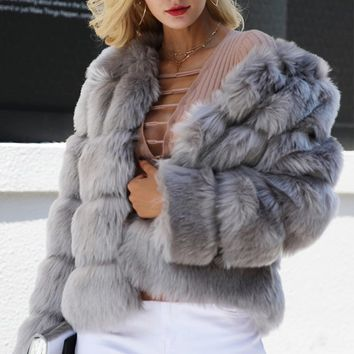 Ice Age Faux Fur Horizontal Long Sleeve Coat - 3 Colors Available