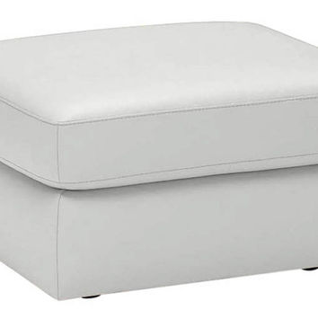 Color Customizable Leather Ottoman Corno by Natuzzi Editions