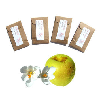 4 Golden Delicious Scented Envelope Sachets - Apple Country Wedding Favor - Apple Decor - Yellow Brown - Nature Inspired