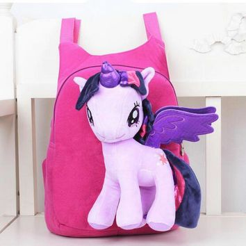 Lovely Cute Baby Kid Schoolbag Cartoon My Little Pony BagPacks Children Zipper Bag Lightweght Bag Durable Bag