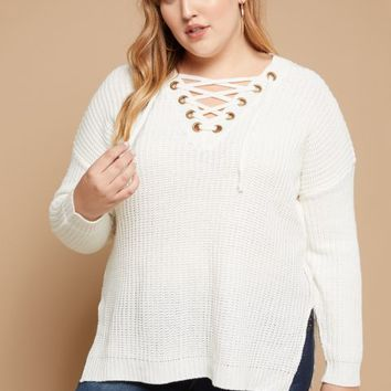 Plus Ivory Lace Up V Neck Sweater