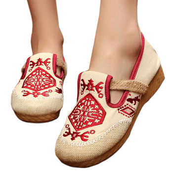 Flax Embroidered Old Beijing Cloth Shoes   red  35