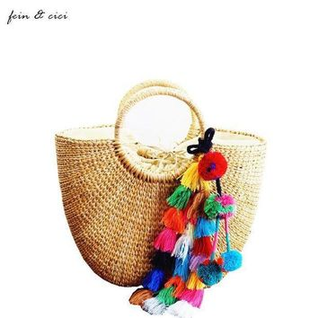 PEAPGC3 beach bag straw totes bag bucket summer bags with tassels women handbag braided 2017 new arrivals spring and summer high quality