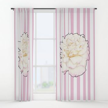Pale Rose on Stripes Window Curtains by drawingsbylam
