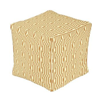 Geometric pattern outdoor pouf