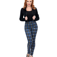 Blue & Black High Waisted Plaid Pants